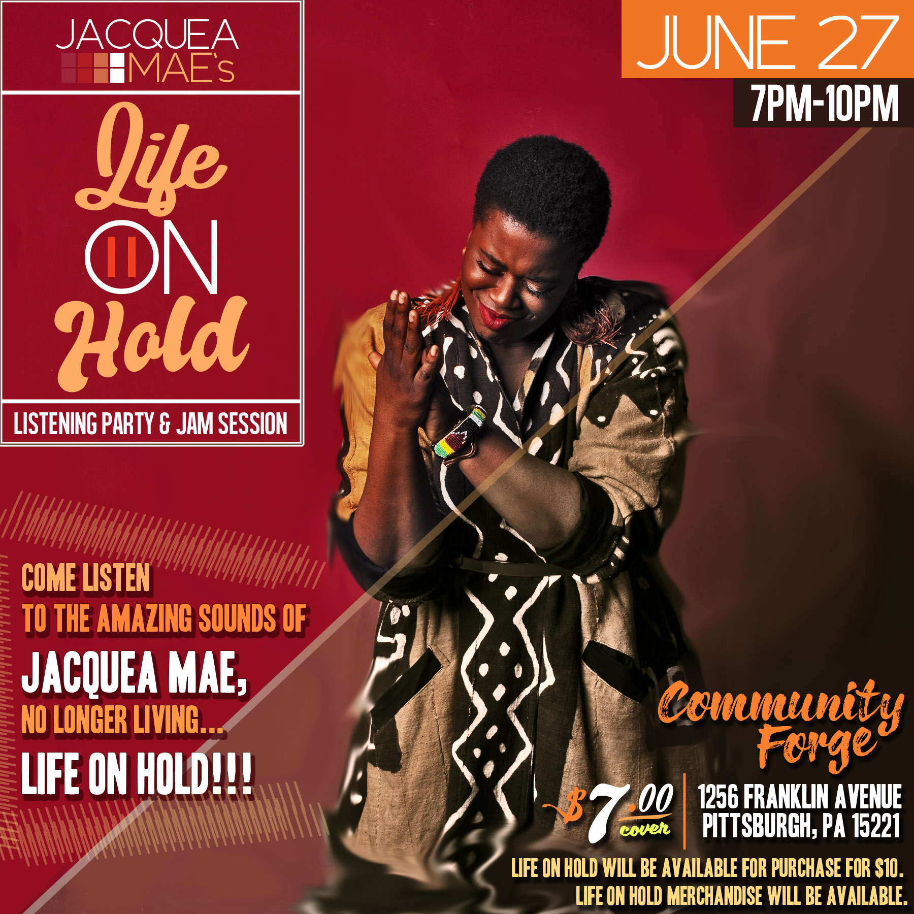 "Jacquea Mae ""Life On Hold"" Release flyer"